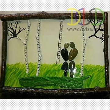 Picture of Romantic Jungle Stone Painting Tableau